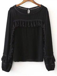 Fringed Boat Neck Blouse - Black L