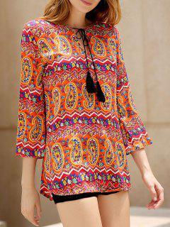 Ethnic Print V Neck 3/4 Sleeves Dress - Xl