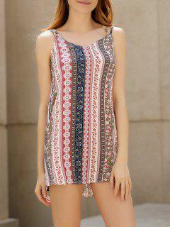 Double Strap Printed Slip Dress - Pink Xl