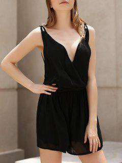 Backless Cross-Over Chiffon Romper - Black Xl