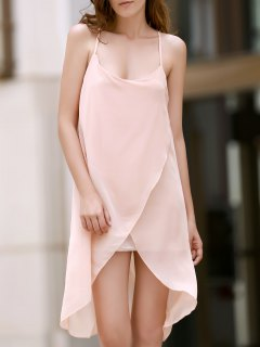 Irregular Hem Chiffon Cami Dress - Apricot S