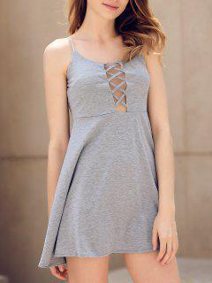 Fit And Flare Lace-Up Dress - Gray S