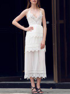 Spaghetti Strap Layered Lace Maxi Dress - White M