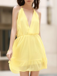 Deep V Neck Elastic Waist Cami Dress - Light Yellow Xl