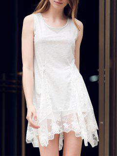 Lace Hem Swingy Tank Dress - Light Gray M