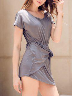 Tie Front Irregular Dress - Gray S