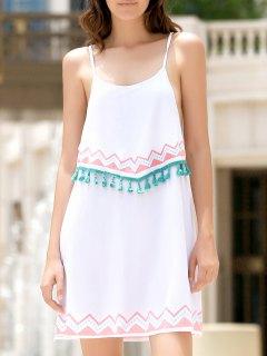 Ethnic Print Cami Fringe Dress - White Xl