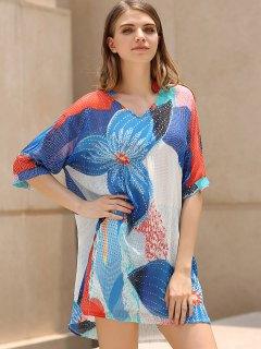 Imprimer En Mousseline De Soie Plongeant Cover Neck Dress Up