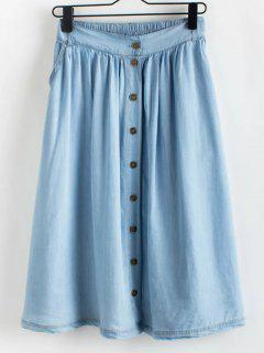 Buttoned A-Line Skirt - Light Blue L