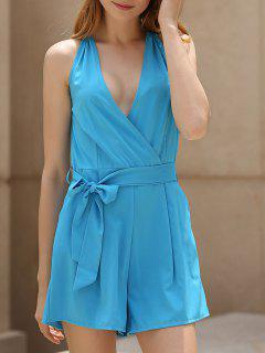 Deep V Neck Sleeveless Blue Romper - Blue S
