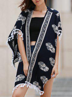 Impreso Con Flecos De La Blusa Kimono - Azul Marino  L