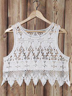 Hollow Out Round Collar Cropped Lace Tank Top - White