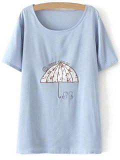 Plus Size Umbrella T-Shirt - Light Blue 3xl