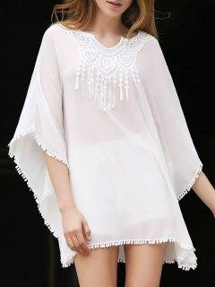 Lace Splice V Neck Chiffon Cover Up - White
