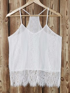 Tank Top Cami White Lace Splice - Blanc L