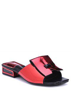 Patent Leather Solid Color Low Heel Slippers - Red 39