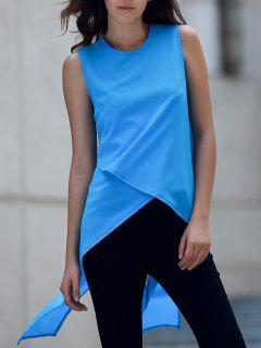 Irregular Hem Chiffon Round Neck Tank Top - Blue L