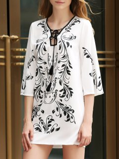 Floral Print Plunging Neck 3/4 Sleeves Dress - White