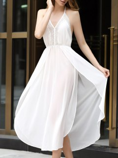 White Halter Chiffon High Slit Maxi Dress - White