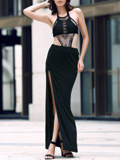 Sexy Backless Halter Neck Slit Maxi Dress - Black L