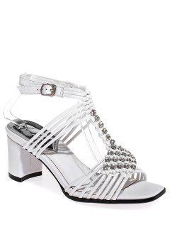 Rhinestone Weaving Chunky Heel Sandals - White 39