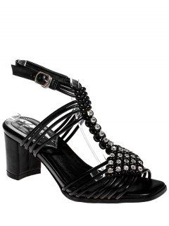 Rhinestone Weaving Chunky Heel Sandals - Black 39