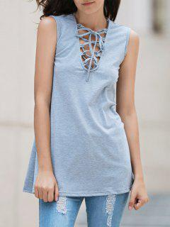 Lace-Up Flippy Tank Dress - Light Gray Xl