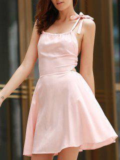 Halter Pink Backless A Line Dress - Pink S