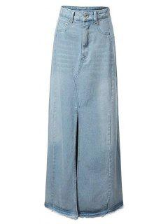 Front Slit Long Denim Skirt - Light Blue S