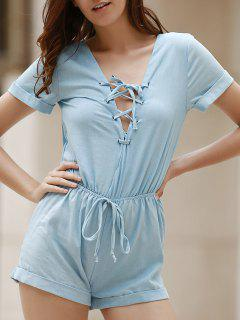 Lace Up Plunging Neck Short Sleeve Romper - Light Blue Xl