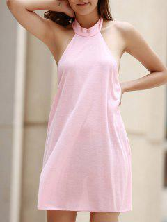 Pink Halter Pleated Dress - Pink S