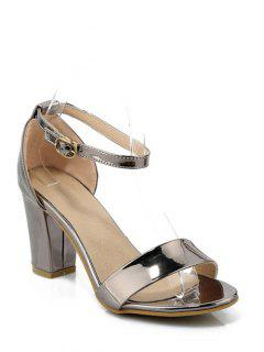Solid Color Ankle Strap Chunky Heel Sandals - Gun Metal 34