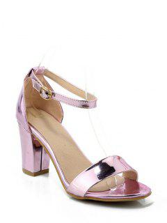 Solid Color Ankle Strap Chunky Heel Sandals - Pink 34