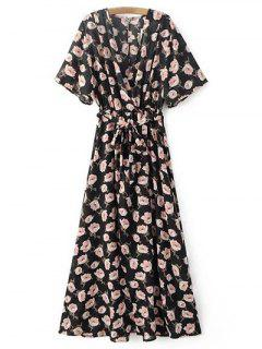 Crossover Printed Maxi Chiffon Dress - Black S
