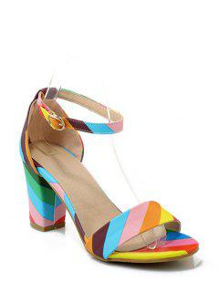 Rainbow Color Ankle Strap Chunky Heel Sandals - 39