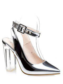 Slingback Crystal Heel Pointed Toe Pumps - Silver 34
