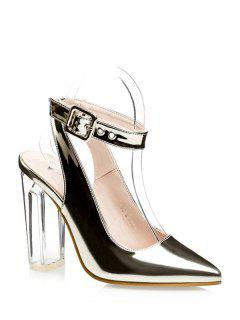 Slingback Crystal Heel Pointed Toe Pumps - Golden 34