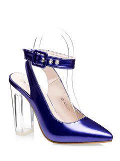 Slingback Crystal Heel Pointed Toe Pumps - Blue 34