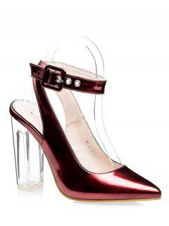 Slingback Crystal Heel Pointed Toe Pumps - Red 34