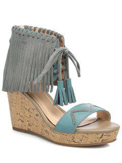 Fringe Lace-Up Wedge Heel Sandals - Blue 39