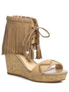 Fringe Lace-Up Wedge Heel Sandals - Apricot 39