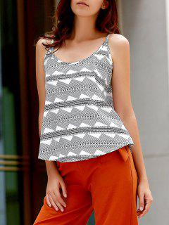 Printed Spaghetti Strap Tank Top - White And Black Xl