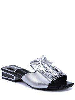 Fringe Solid Color Low Heel Slippers - Silver 39