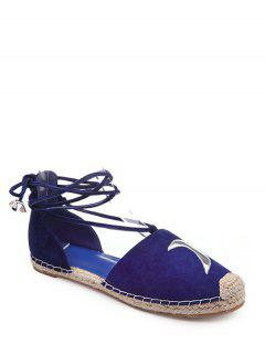 Tejiendo Asimétrico Con Cordones De Zapatos Planos - Azul 39