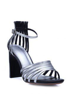 Strappy Solid Color Chunky Heel Sandals - Silver 39