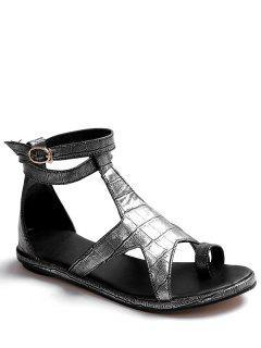 Star Crocodile Print Flat Heel Sandals - Silver 39