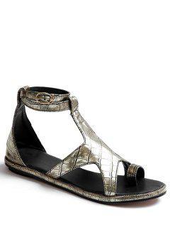 Star Crocodile Print Flat Heel Sandals - Golden 39