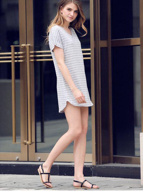 new V-Neck Striped Tee Dress - GRAY M Mobile