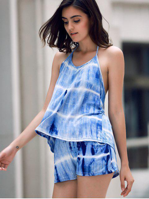 sale Print Halter Tank Top and Wide Leg Shorts Suit - BLUE XL Mobile