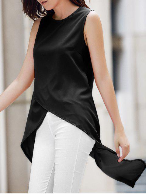 Dobladillo irregular de la gasa de cuello redondo sin mangas - Negro XL Mobile